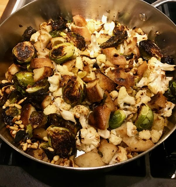Sautéed bread with cauliflower and brussels sprouts